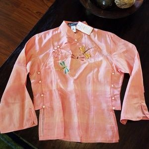 Coral Silk dragon fly blouse
